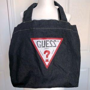 GUESS Dark Wash Denim Tote Bag